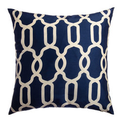 Athena Geometric 20-Inch Feather and Down Filled Throw Pillows, Navy, Set of 2 - There are a few pairings that just go together well, and navy and white is one of them. Fresh, nautical, crisp and classic, these colors make a wonderful combination for decorating a room. This vibrant pillow will kick up a room in high style.