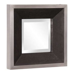 Howard Elliott Jackson Square Wood Mirror - The Jackson Mirror features a sleek and sophisticated look with an Espresso wood grain veneer frame trimmed with a brushed aluminum border.