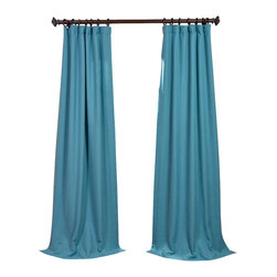 "Exclusive Fabrics & Furnishings, LLC - Teal Ivy Heavy Faux Linen Curtain - 100% Polyester. 3"" Pole Pocket with Hook Belt & Back Tabs. Unlined. Imported. Weighted Hem. Dry Clean Only."