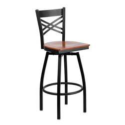 """Flash Furniture - Hercules Series ''X'' Back Swivel Metal Bar Stool - Cherry Wood Seat - This stylish swivel bar stool will compliment any Home, Restaurant, Lounge or Bar. The 360 degree swivel seat allows you to swing around effortlessly. The wood seat is easy to clean for quick customer turnovers in restaurants. The heavy duty frame makes this stool perfect for commercial or home usage. This attractive stool will add to your casual or elegant setting.; Swivel Bar Stool; """"X"""" Back Design; Cherry Finished Wood Seat; .75"""" Thick Plywood Seat; .75"""" Thick Plywood Seat; 16 Gauge Steel Frame; Foot Rest Rung; Black Powder Coated Frame Finish; Plastic Floor Glides; CA117 Fire Retardant Foam; Designed for Commercial Use; Suitable for Home Use; Weight: 25 lbs; Overall Dimensions: 16.5""""W x 20.5""""D x 44.5""""H"""