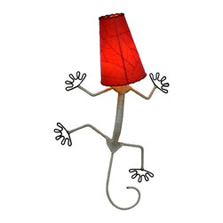 Eangee - Gecko Wall Lamp in Red - Real fossilized cocoa leaf shade. Dyed with organic dyes and applied with non-toxic adhesives.. Each panel is bound to the wrought iron frame with a hand stitched renewable abaca rope.. Wired to be plugged in. 12 in. L x 16 in. W x 24 in. H x 3 lbs.The gecko lamp is a fun and whimsical piece that is designed to stand out. Renewable abaca twine is used a wrap around the entire length of the body, creating a natural look.