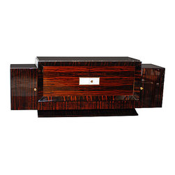 French Art Deco Sideboard with Floating Ends - French Art Deco sideboard with floating ends.  Macassar Ebony with white leather and