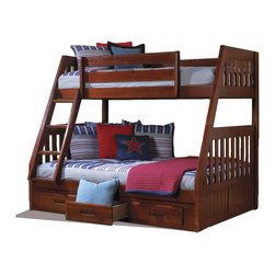 None - Solid Pine Twin-over-full Bunk Bed with Drawers - Quality and solid wood construction makes this bed an ideal addition to any home decor. This attractive piece in a rich Merlot finish features a sturdy slat design and complete with a three-drawer under-bed storage unit.