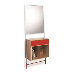 WS Bath Collections - Posa 5133 Natural Bamboo Console with Metal Drawer and Mirror, Red - Posa by WS Bath Collections, Natural Bamboo Console with Painted Metal Drawer and Mirror, Available in White, Red, Brown, Orange, Pink or Dark Grey