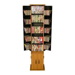 Venture Horizon - Original Double Door Multi-Media Tower (Oak) - Finish: Oak. For offices, libraries and homes that need multimedia storage, this cabinet offers variable storage options. Just adjust the shelves for jewel cases or larger VHS tapes. Swing-out doors with additional shelving make it even easier to organize your entire collection. Organizes all media. Large storage capacity. Elegant molding. Rugged construction. Constructed from durable, stain resistant and laminated wood composites that includes MDF. Made in the USA. Pictured in Oak finish. Assembly required. Media storage capacity:. CD's : 390. DVD's : 240. Blu-ray's: 307. VHS tapes: 120. Disney tapes: 60. Audio cassettes: 400+. Weight: 50 lbs.. Tower Size:. Assembled Size: 17.5 in. W x 15 in. D x 68 in. H. Inside top shelving cabinet area: 6 in. W x 6 in. D x 47.5 in. H. Inside top doors: 6 in. W x 6 in. D in. 47.5 in. H each. Bottom inside cabinet area: 12 in. W x 12 in. D x 17.5 in. HThe Media Tower is one of our most successful products by any standard. So why tamper with a winner? To make it even better. We added stylish molded top and bottom panels. Then we gently rounded the doors and added new contemporary handles. As a tribute to the new look we added the color Calvados Cherry. The results are stunning. It is also available in Oak, Walnut and Black. All with a black interior. 7 shelves (3 adjustable) combined with 10 pocket shelves in the doors will organize an entire media collection.