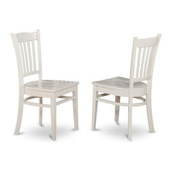 East West Furniture - Wooden Chair In White Finish - Set of 2 - Set of 2. Slat-back stools. Made in Vietnam. Assembly required. Seat height: 18 in.. Overall: 17.5 in. W x 16.5 in. D x 37 in. H (36 lbs.)