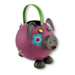 Whimsical Hand Painted Folk Art Pig Watering Can - Perk up your day and your plants using this whimsical watering can! Take this playful little piggy to the sink and `fill `er up` through the large opening in the top, then watch the magical waterfall pouring out of the cleverly placed spout! With bejeweled iridescent eyes, floppy ears and a cute curly tail, this is one watering can you`ll want on display at all times! It is crafted of metal and hand painted with weathered appeal. It measures 7 3/4 inches tall, 7 1/2 inches long and 5.5 inches wide, and makes an excellent gift for a gardener!