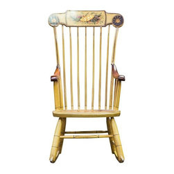 """Pre-owned Painted Vintage Rocking Chair - Sit back, relax, and Chairish your bum in this granny chic, hand painted """"Stencil Back"""" rocking chair.  It has a broken spindle, but can be easily repaired."""