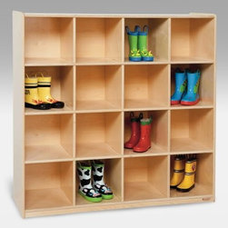 Wood Designs 16 Big Cubby Storage - These just-right cubbies are a handy place to put kid-size things that need to be found easily later on. Assign each cubby to a kid, or use the entire unit to categorize classroom supplies, tools, and activities. The glossy light-resistant, kid-safe surfaces are easy to clean, and the extra depth helps guard against tipping and toppling. Includes a lifetime warranty.About Wood Designs Healthy Early Learning FurnitureWith more than half a decade of experience manufacturing for the school and early learning industries, Denny and Debbie Gosney began Wood Designs to create youth furniture that enriches the development of young children's lives. The company uses the finest quality materials, and every product is inspected before it arrives in the hands of its young customers. Wood Designs' highly skilled craftspeople use their experience to make premium, safe, quality furniture designed with kids in mind. In 2008, Wood Designs introduced a new line of furniture that offers the safest, strongest, most environmentally friendly products available for classroom use. Safety features include recessed backs and extra depth for stability, rounded edges, Tip-Me-Not doors that go all the way to the floor so it's more difficult for children to pull over the furniture, and Pinch-Me-Not continuous hinges that help prevent pinched fingers. All Wood Designs furniture receives a triple coat of Healthy Kids Tuff-Gloss™, the company's GREENGUARD certified UV finish - tough, durable, stain and chemical resistant and easy to clean. Furniture is constructed with a strong (and beautiful) mortise, glue and steel pin assembly method. Wood Designs assembly is many times stronger than furniture assembled with pencil-thin dowels, and all pieces include a lifetime warranty.