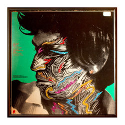 """Glittered Rolling Stones Tattoo You Album - Keith - Glittered record album. Album is framed in a black 12x12"""" square frame with front and back cover and clips holding the record in place on the back. Album covers are original vintage covers."""