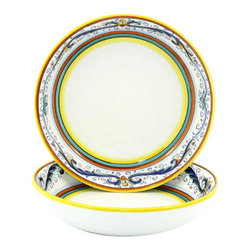 Artistica - Hand Made in Italy - RICCO DERUTA: Round Flat Pasta/Soup Bowl^ - RICCO DERUTA: This product is part of the renown Ricco Deruta Collection.