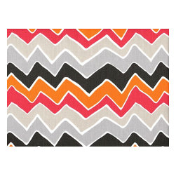 Close to Custom Linens - King Shams Ruffled Pair See Saw Chevron - See Saw is a contemporary chevron pattern in greys, orange and pink. The shams are 20 x 36 with a 2 1/2 inch ruffle. The face is lined with a layer of poly for extra body.