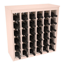 36 Bottle Deluxe Wine Rack in Pine with White Wash Stain - Great start or addition to wine rack furniture, this wooden wine rack is designed to look like a freestanding wine cabinet. Solid top and side enclosures promote the cool and dark storage area necessary for aging your wine properly. Your satisfaction and our racks are guaranteed.