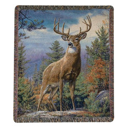 Manual - Standing Proud 10 Point Buck Print Tapestry Throw Blanket 50 Inch x 60 Inch - This multicolored woven tapestry throw blanket is a wonderful addition to your home or cabin. Made of cotton, the blanket measures 50 inches wide, 60 inches long, and has approximately 1 1/2 inches of fringe around the border. The blanket features a print of a 10 point buck standing on a rock outcrop. Care instructions are to machine wash in cold water on a delicate cycle, tumble dry on low heat, wash with dark colors separately, and do not bleach. This comfy blanket makes a great housewarming gift that is sure to be loved.