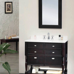 """Elizabeth Single Vanity - The Elizabeth 36"""" vanity features hardwood furniture with an espresso finish, a hidden cabinet, white marble countertop and ceramic basin."""