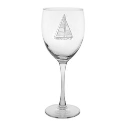 Rolf Glass - Sailboat Goblet  10.5oz, Set of 4 - Still or sparkling, it doesn't matter. These are the water goblets you'll turn to for entertaining on those nights on the deck or patio. A crisply etched sailboat, complete with racing number, lends a nautical feel.