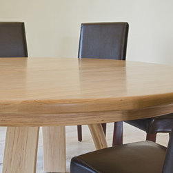 Custom Designed Furniture -- Breakfast Table 2 - 6 ft round pecan wood with natural finish