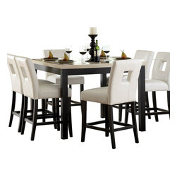 Homelegance - Homelegance Archstone 5 Piece Counter Height Dining Room Set with White Chairs - Contemporary design, sleek seating and the combination of black finish with white accents are all the ingredients you need to create a stylish setting for exceptional dining. The white faux marble top pairs perfectly with a cut out center chair back, the color contrast and stylish design create a rich visual enhancement. Chairs are available in white bi-cast vinyl and black bi-cast vinyl.