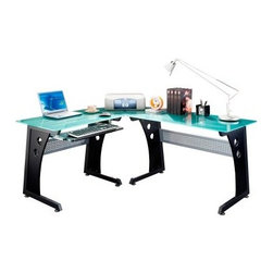 Techni Mobili L-Shaped Glass Top Computer Desk - Graphite - A brilliant choice for the executive's office or your own home, the Techni Mobili L-Shaped Glass Top Computer Desk - Graphite provides plenty of workspace so you have room for all of your paperwork, tech, and other necessities. The main desk area is made from tempered glass with a cool frosted appearance. The legs are a sturdy MDF with matching black PVC laminate that complements the frosted glass beautifully. A mobile CPU caddy keeps the computer out of your work area so you have more room for a bigger monitor and all of your projects. One of the most unique features of this state of the art computer desk is its perforated steel privacy panels that keep you focused on the task at hand and everyone else's peering eyes out of your business.About RTA ProductsRTA Products, located in Miramar, Fla., is focused on creating, producing, and distributing high-quality products. Their stellar combination of price, quality, and service continually exceeds the expectations of customers and consumers. Many products are subjected to independent tests separate from the company, ensuring each item is developed with the customer in mind.