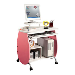 Techni Mobili - Techni Mobili Petit Pink Mobile Computer Desk in Pink and White - The Techni Mobili Petit Pink Mobile Computer Desk is made of heavy-duty engineered wood panels with a moisture resistant PVC laminate veneer and a scratch-resistant powder-coated steel frame. It features an elevated accessory shelf, a large slide-out keyboard shelf equipped with a safety stop, CPU Storage, a built-in side shelf, and easy moving casters. Two of the fours non-marking nylon casters include locking mechanisms. The desktop has a 60 lb. weight capacity, the elevated accessory shelf and built-in side shelf both have 20 lb. weight capacities, and the slide-out keyboard and bottom shelves each have a 30 lb. weight capacities. Color: Pink & White.