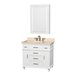 """Wyndham Collection - Berkeley 36"""" White SGL Vanity, Ivory Marble Top, UM Rd Sink, 24"""" Med Cab - If your bathroom's asking you for a facelift, the Berkeley is a worthy choice. At once elegant, classic and contemporary, the Berkeley vanity lends an air of sophistication and charm to any bathroom, from a Soho penthouse to a rustic country home. Carefully hand built to last for decades and finished in White or Dark Chestnut, this solid wood vanity is trimmed with brushed chrome hardware to compete the timeless look."""