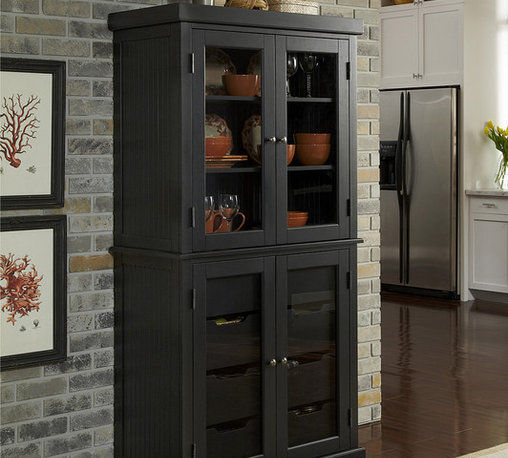 Home Styles - Distressed Black Nantucket China Pantry - Lend elegance and organization to your kitchen with this exceptional pantry that features a hardwood construction, four pristine glass doors, two adjustable shelves with built-in plate grooves, and four large drawers for storing linens, china and other essentials.   36'' W x 72'' H x 18'' D Wood / glass Assembly required Imported