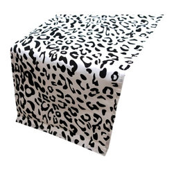 Table Runner, Leopard, Black/White - This table runner is a steal and would be so fun for parties.