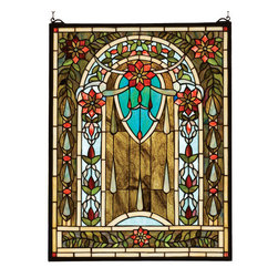 """Meyda Tiffany - Meyda 20""""W x 26""""H Hampshire Stained Glass Window - Garlands of Carnelian Red flowers drape across Sky-blue and Wispy Brown stained art glass. Accented with Blue teardrops, this exotic Meyda Tiffany window is handcrafted utilizing the copper foil construction process encased in a solid brass frame. Mounting bracket and jack chain included."""