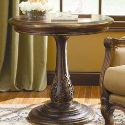 Hooker Furniture - Beladora Round Accent Table - Made from hardwood solids with maple, olive ash burl and walnut veneers with resin accents. Caramel finish with gold tipping. Floor to bottom of apron: 26.50 in. H. Overall: 30 in. L x 30 in. W x 30 in. H. Assembly InstructionsThe 70-piece Beladora collection of bedroom, dining, living room tables, home office and home entertainment furniture is the epitome of the grand European elegance many are looking for. Enrich you surroundings with the grand European elegance of Beladora. If you appreciate traditional forms, exquisite shapes, graceful curves and artistic hand work, the Beladora office collection by Hooker Furniture will inspire you as you work in your personal office space. The collection is dramatic and graciously scaled with maple and olive ash burl veneers accented by distinctive walnut inlays. Beladora pays homage to costly Old World antiques and showcases its exceptional design with a refined caramel finish with subtle gold tipping to accent the carving, chiseling and marquetry work all done by the hands of skilled craftsmen.