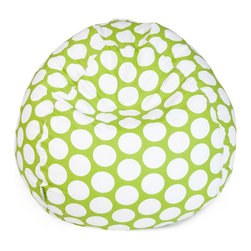 Majestic Home - Indoor Hot Green Large Polka Dot Small Bean Bag - Kids of all ages love to plop on a beanbag — especially with this poppy polka dot pattern — so it's guaranteed to become the best seat in the house. No worries, though — the cotton twill slipcover zips off so you can pop it in the washing machine.