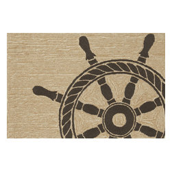 """Trans-Ocean Inc - Ship Wheel Black 30"""" x 48"""" Indoor/Outdoor Rug - Richly blended colors add vitality and sophistication to playful novelty designs. Lightweight loosely tufted Indoor Outdoor rugs made of synthetic materials in China and UV stabilized to resist fading. These whimsical rugs are sure to liven up any indoor or outdoor space, and their easy care and durability make them ideal for kitchens, bathrooms, and porches; Primary color: Neutral;"""