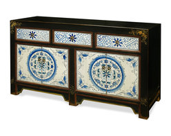 """China Furniture and Arts - Hand Painted 4-Door Mongolian Cabinet - Exuberant and bold, the artwork on this cabinet is a true display of Mongolian art. A definite conversation starter, the nature-inspired blue and white pattern motif on the door panels and drawers is beautifully pronounced by distressed black framing. Two double door compartments measuring 24""""W x 15.5""""D x 13.5""""H contain removable shelving for your storage convenience. An additional three upper drawers, each measuring 14.5""""W x 13""""D x 4.5""""H, are ideal for the storage of smaller items. Perfect for the foyer, living room or media room. Completely hand-constructed of solid Elmwood, it is a one-of-a-kind item that will last for generations. Fully assembled."""