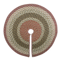"Earth Rugs - Olive/Burgundy/Gray Round Tree Skirt (20"" x 20"") - For the holidays, add this festive tree skirt to your Christmas tree for a decorative touch."