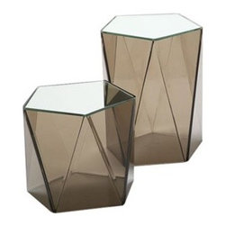 Faceted Lucite Table - Here's a pair of faceted side tables in a smoky gray perspex with mirrored tops. It's like a contemporary riff on an uptown apartment classic, the mirrored coffee table.