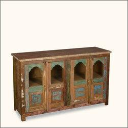 """Reclaimed Wood 60"""" Buffet Cabinet 4 Door Storage Sideboard Credenza -"""