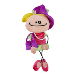 Wanna B Like Mom Little Girl Playing Dress Up Doll - This adorable doll portrays a little girl`s favorite pastime- playing dress up, wanting to be like Mom! She`s dressed to the nines in a pink and green velour dress, has a coordinating purple hat and purse, and has accessorized with a pearl necklace and pink high heel shoes.  The doll measures 13 inches tall, has elastic string arms and legs, and is 100% polyester. This toy is recommended for ages 3 and up.