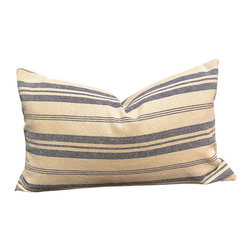 """PillowFever - Vintage Linen Pillow Cover in Blue Stripes, 14""""x22"""" - This beautiful vintage linen pillow cover will compliment any beach house, country style cottage. Main Colors are: off white, blue."""