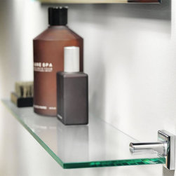 WS Bath Collections - Glass Bathroom Shelf - Modern/contemporary design. Designer high end quality bathroom accessories. Premium Quality: Avant-garde. Warranty: One year. Made from solid brass base and glass. Polished chrome finish. Made in Spain. No assembly required. 23.6 in. W x 5.9 in. D (10 lbs.)Kubic Class from Pom Dor Spain the very well known brand name for premium and high-end bathroom furnishings; unique and fine bath complements, and accessories of various designs and materials; wood, chrome, gold, stainless steel, glass, and other possibilities, that provide inspirational solutions for every decor.