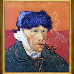 """Vincent Van Gogh-16""""x20"""" Framed Canvas - 16"""" x 20"""" Vincent Van Gogh Self Portrait with Bandaged Ear and Pipe framed premium canvas print reproduced to meet museum quality standards. Our museum quality canvas prints are produced using high-precision print technology for a more accurate reproduction printed on high quality canvas with fade-resistant, archival inks. Our progressive business model allows us to offer works of art to you at the best wholesale pricing, significantly less than art gallery prices, affordable to all. This artwork is hand stretched onto wooden stretcher bars, then mounted into our 3"""" wide gold finish frame with black panel by one of our expert framers. Our framed canvas print comes with hardware, ready to hang on your wall.  We present a comprehensive collection of exceptional canvas art reproductions by Vincent Van Gogh."""