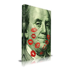 """Apt2B - Benjamin' Print by Maxwell Dickson, 20"""" x 30"""" - Maybe it's the multitalented early American celebrity Ben Franklin that's getting some love here, or maybe it's the hundred dollar bill his face is taken from. Either way, it's a striking piece of pop art. Printed onto frameless canvas in the contemporary style, it'll make a big impact in any of four large sizes."""