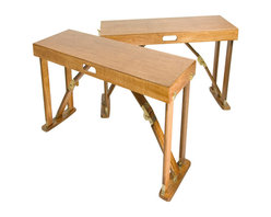 "Spiderlegs - Spiderlegs B3813-WO Hand Crafted Folding Bench Set of 2 in Warm Oak - Spiderlegs Custom Crafted portable wooden folding set of two benches, with an original folding design and patented locking hardware. Crafted from Cabinet Grade Baltic Birch wood and finished in a Warm Oak color with a polyurethane top coat for a fine furniture finish. Each Bench is designed to accommodate up to two adults with a recommended load limit of 300lb. Each bench folds flat and two benched clasp together for easy storage and has its own built in handle for easy for transport. The folded dimensions are 38"" x 12.875"" x 4.75"". The locking hinges prevent each bench from unintentionally folding when opened. Hinge locks may be easily released by pressing the solid brass lock buttons between the thumb and a finger. Each bench may be used indoors or outdoors and is built comfortable 18 inches high, and is designed to match Spiderlegs folding picnic table. The benches may be used with or without the picnic table, and, since they are not attached to the picnic table, may be moved around separate from the table. Also often used as low table such as an RV coffee table. Can be store under a bed, stand up in a coat closets, car trunk, RV bins, etc. Clean with a damp cloth. Renew wood surfaces with wood care products. US Patent numbers 6,779,466 and 7,337,728. The bench set includes a full one year warranty. Folding Bench (2)"