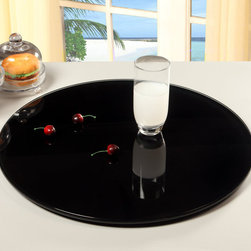 Chintaly Imports - 24 Round Glass Rotating Tray, Black - 360 Degree Rotatable Tray. Round Painted Black Glass.