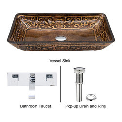 Vigo - Rectangular Russet Glass Vessel Sink and Faucet Set in Brushed Nickel - The VIGO Rectangular Russet glass vessel sink set with Brushed Nickel faucet is modern and intriguing.