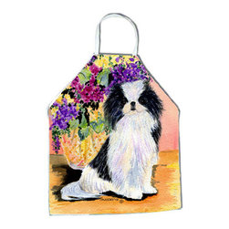 Caroline's Treasures - Japanese Chin Apron SS8299APRON - Apron, Bib Style, 27 in H x 31 in W; 100 percent  Ultra Spun Poly, White, braided nylon tie straps, sewn cloth neckband. These bib style aprons are not just for cooking - they are also great for cleaning, gardening, art projects, and other activities, too!