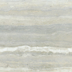 Sienna Silver Travertine Tile - The one tile that I am saving my pennies for! It is beautiful — even more so in person. I would love to use it on my floors, both in our entryway and master bathroom. A beautiful travertine!