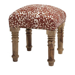 IMAX - Gordy Upholstered Ottoman - Get a leg up, or better yet two, on a comfortable and plump upholstered ottoman with substantial, turned wood legs in a casual finish.