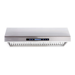 "Cavaliere - Cavaliere-Euro AP238-PS61-42 42; Under Cabinet Range Hood - Mount Type: Under Cabinet. Venting: Top, 8"" Round. Airflow at Max: 900 CFM. Lighting: Two 35W GU10 Halogen Lights. Noise Level: 1.5Sone(46dB) / 3.5Sone(58dB) / 5.3Sone(64dB) / 7.5Sone(69dB). Voltage: 120V / 60Hz (USA & Canada standard). Motor: 260W (130W + 130W) Dual Motors. Speeds: 4 Speeds. Keypad Type: Touch sensitive electronic LCD control panel with heat sensor and remote control. Filters: Dishwasher Safer Stainless Steel Baffle Filter. Material: Full seamless stainless steel construction. Features: Credit Card Sized Remote Control, Unique Heat Sensitive Auto Speed function. Warranty: 1 year parts from the Manufacturer"