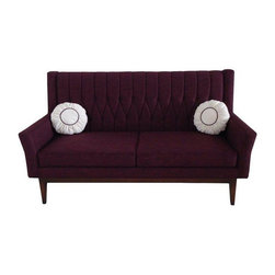 Pre-owned Lola Purple Quilted Sofa - This modern Lola love seat features a quilted back with sleek design lines and a rich purple scheme. Boasting a vintage-inspired style, the Lola seat, sits on a  a durable wooden base for long lasting durability and stability.    This is a new, unused item.    Arm height: 25 inches  Seat height: 18 inches    Two (2) round pillows: 14 inches in diameter    Materials: Spring, polyester , wood base , wood, poly fiber, 100-percent cotton