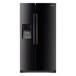 Samsung - RS25H5111BC 24.5 cu. ft. Side-By-Side Refrigerator with 3 Clear Crisper Bins  Tw - 245 cu ft Side by Side Refrigerator with External Filtered Ice  Water Dispenser Twin Cooling Plus system helps keep food fresher longer Digital temperature controls are precise and easy to use Glass spill proof shelving in the refrigerator and freeze...
