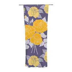 """Kess InHouse - Anneline Sophia """"Summer Rose Yellow"""" Purple Lavender Decorative Sheer Curtain - Let the light in with these sheer artistic curtains. Showcase your style with thousands of pieces of art to choose from. Spruce up your living room, bedroom, dining room, or even use as a room divider. These polyester sheer curtains are 30"""" x 84"""" and sold individually for mixing & matching of styles. Brighten your indoor decor with these transparent accent curtains."""